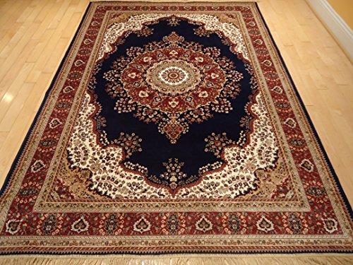 Silk Persian Tabriz Navy 5x8 Rug High Density Shiny 5x7 Navy Area Rugs Living Room Bedroom Rug Luxury Rugs (Medium 5'x8')