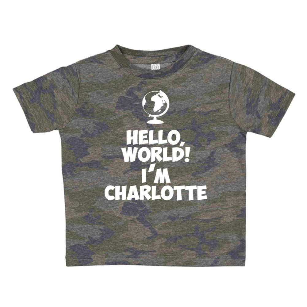 Mashed Clothing Hello World Personalized Name Toddler//Kids Short Sleeve T-Shirt Im Charlotte