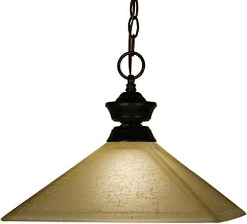 Z-Lite 100701BRZ-MGL13 One Light Pendant, Metal Frame, Bronze Finish and Golden Linen Shade of Glass Material