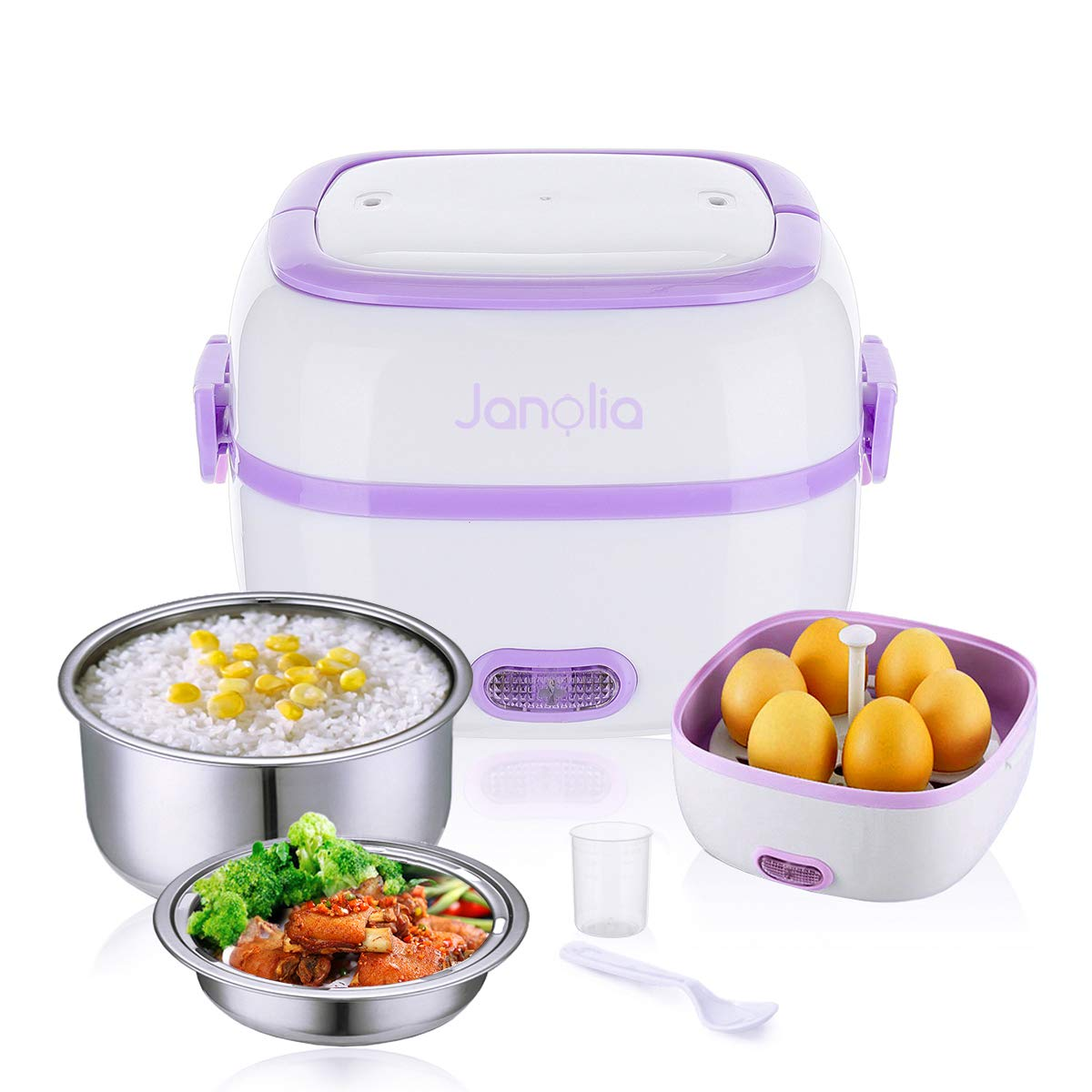 Janolia Electric Lunch Box, Portable Food Lunch Heater Mini Rice Steamer Pot with Removable Stainless Steel Container, Food Grade Material Specification