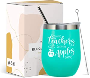 ElegantPark Teacher Gifts For Women Teacher Appreciation Thanksgiving Day Christmas Gifts New School Year Birthday Gifts for Teachers Stainless Steel Insulated Coffee Tumbler Cup with Straw Lid Mint