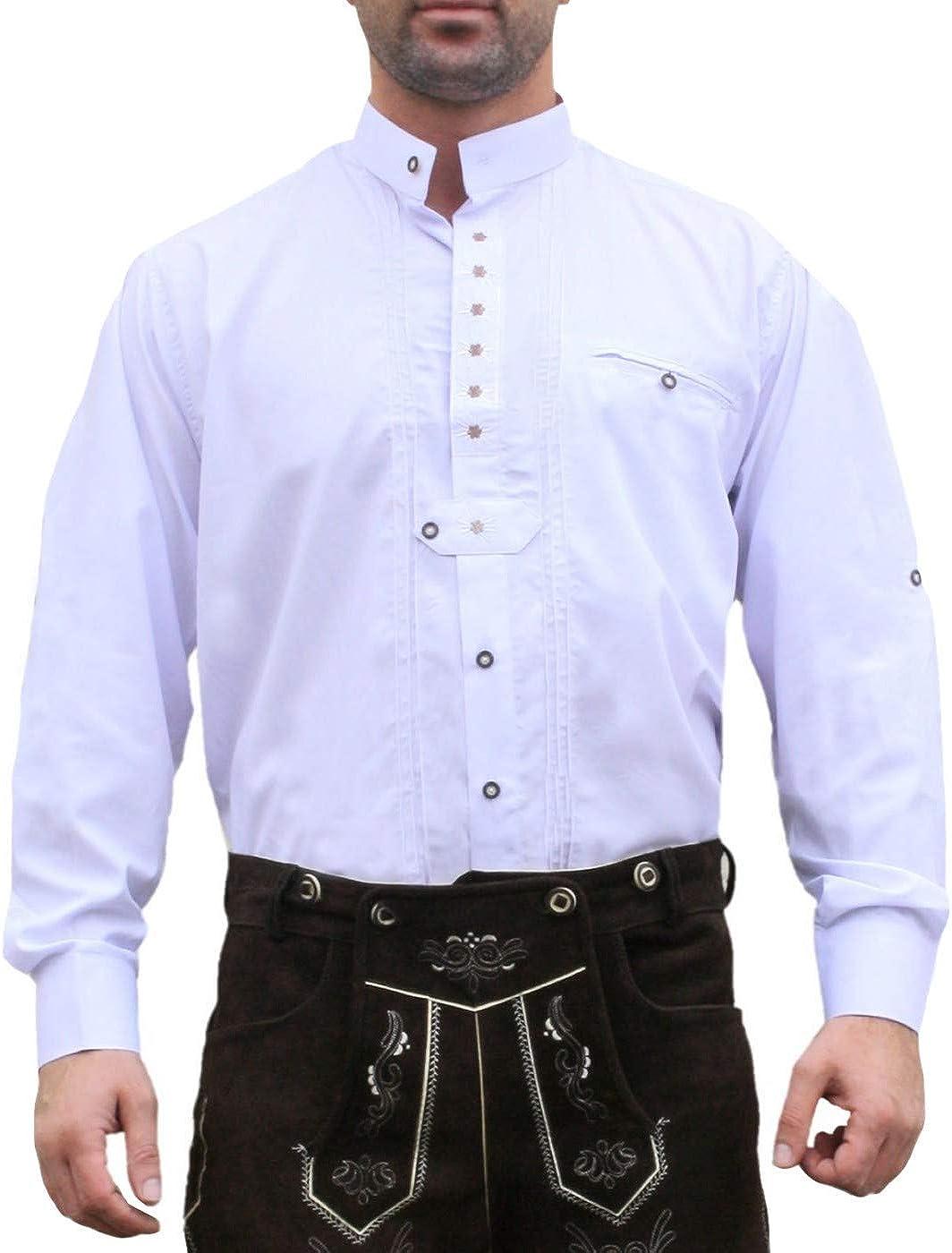 Trachtenhemd, trajes camisa para Lederhosen trajes de algodón bordado Edelweiss Blanca: Amazon.es: Ropa y accesorios