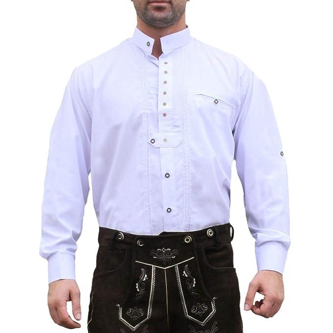 Trachtenhemd, trajes camisa para Lederhosen trajes de algodón bordado Edelweiss Blanca