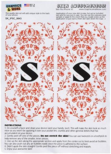 Graphics and More Gráficos y más Letra S Inicial Damasco Elegante Rojo Y Negro Skin calcomanía Protector Blanco Carcasa...