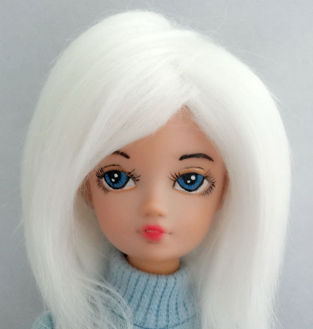 3 4 4.5 5 6 White Long fabric fur Wigs hair for 1//8 1//12 BJD Kurh Barbie dolls