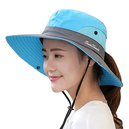 Women s Sun Hat Wide Brim Outdoor UV Protection Mesh Boonie Hat Fishing  Hiking Hunting Camping Cap 6b0a03fbbca0