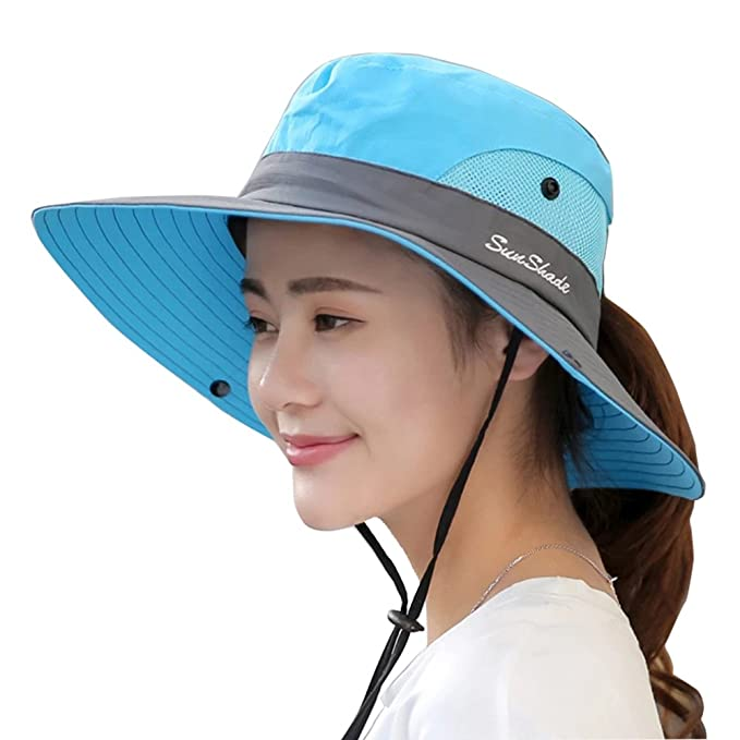 9fe23c97349 Women s Sun Hat Wide Brim Outdoor UV Protection Mesh Boonie Hat Fishing  Hiking Hunting Camping Cap