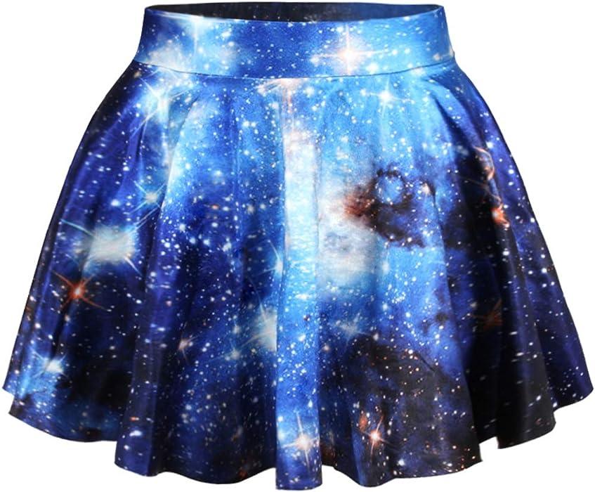 8235c144a78e Annaqueen Blue Galaxy Skater Skirt High Waisted Digital Printed Elastic  Short Mini Skirts for Womens