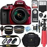 Nikon D3400 24.2 MP DSLR Camera + AF-P DX 18-55mm VR NIKKOR Lens Kit + Accessory Bundle 32GB SDXC Memory + SLR Photo Bag + Wide Angle Lens + 2x Telephoto Lens + Flash + Remote + Tripod+Filters (Red)