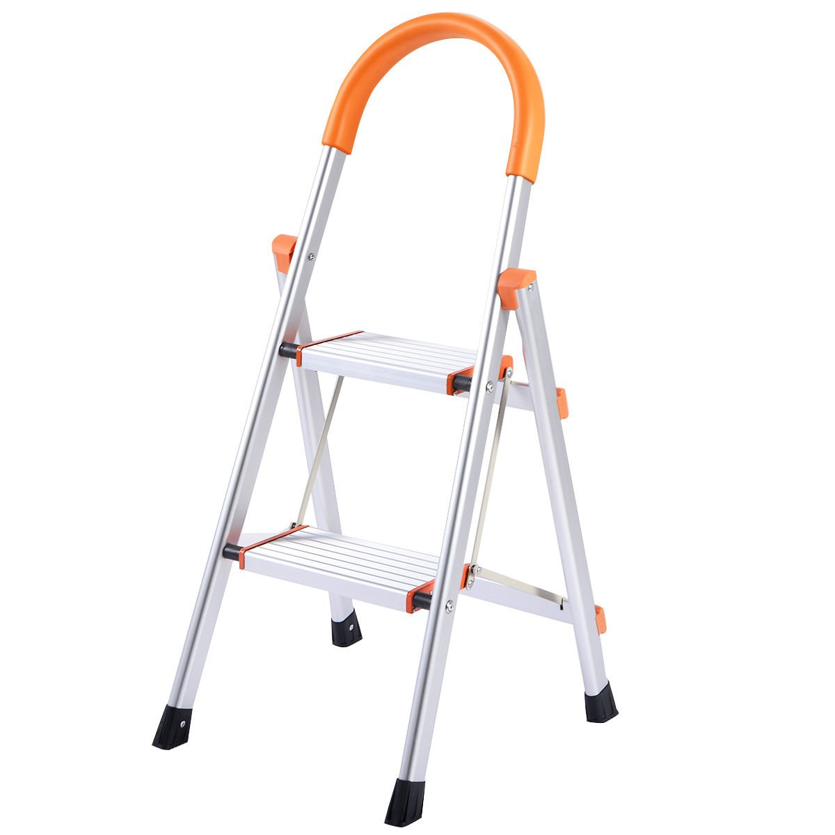 New Non-slip 3 Step Aluminum Ladder Folding Platform Stool 330 lbs Load Capacity