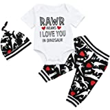Baby Boys Summer Clothes, HEHEM Baby Clothes Toddler Baby Boys Short Sleeve Letter Romper+Pants Hat Dinosaur Clothes Outfits Children's Clothing Baby Boy Outfits Tiny Baby Clothes Cheap Baby Clothes Baby Summer Clothes (0-18 month) (3-6 month, Black)