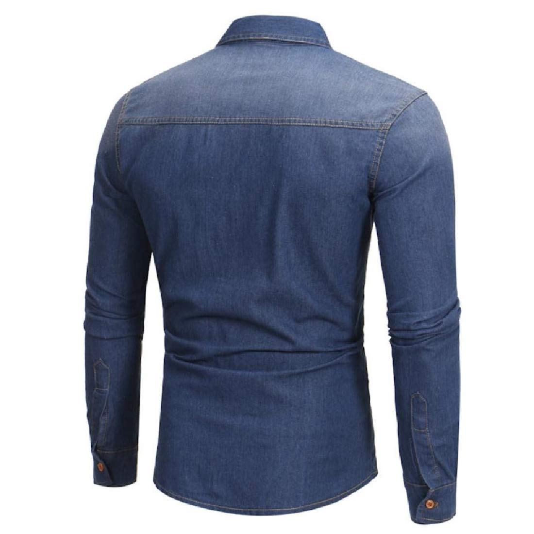 Mens Woven Button-Down-Shirts Cowboy Ombre Tops Simple Shirt