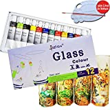 Lasten12 Colors Transparent and Permanent Glass Paint Kit, Non-toxic for ...
