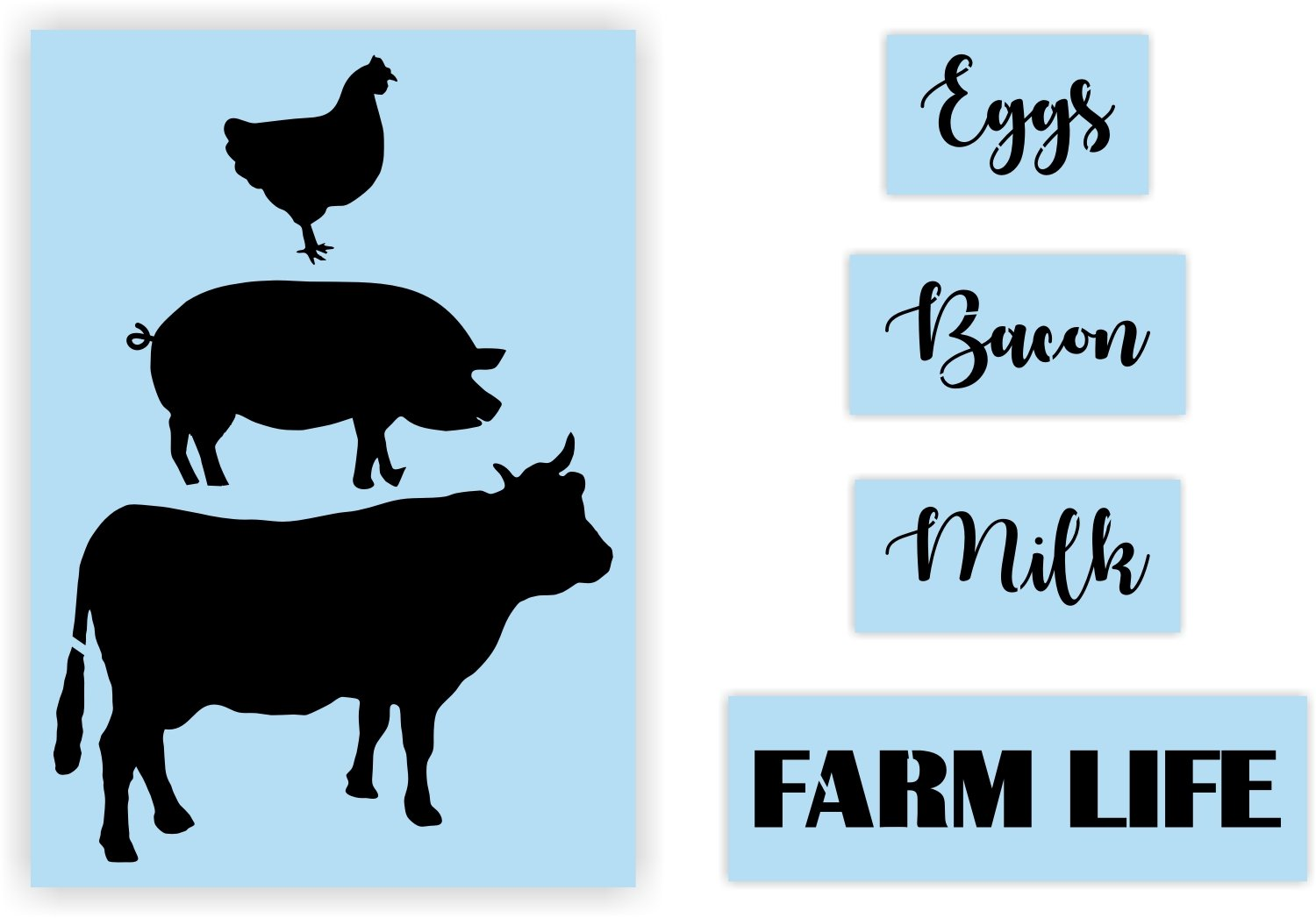 graphic about Chicken Stencil Printable known as Cow Pig Hen Farm Stack Stencil for Portray Signs and symptoms, Reusable Thick, Region Daily life