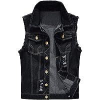 Vogstyle Men's Sleeveless Denim Vest Casual Slim Fit Button Down Jeans Vests Jacket