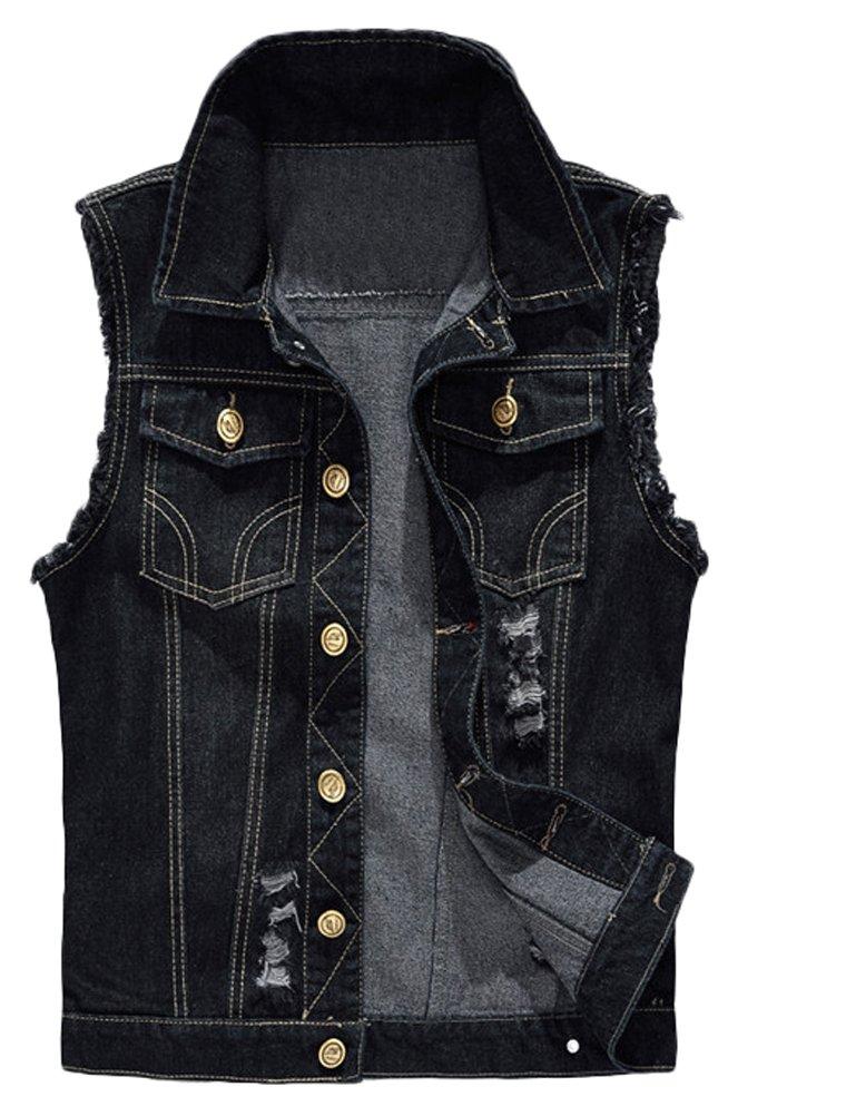 Lavnis Men's Sleeveless Denim Vest Casual Slim Fit Button Down Jeans Vests Jacket Black XL by Lavnis