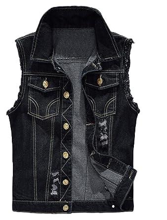 0297bda1cbb0b1 Lavnis Men s Sleeveless Denim Vest Casual Slim Fit Button Down Jeans Vests  Jacket Black XS