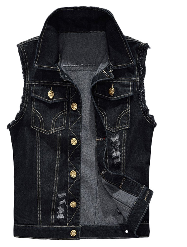 Lavnis Men's Sleeveless Denim Vest Casual Slim Fit Button Down Jeans Vests Jacket M by Lavnis