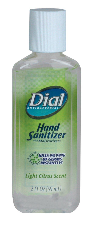 Dial 1370778 Light Citrus Antibacterial Instant Hand Sanitizer Gel with Flip Top Cap, 2oz Bottle (Pack of 24)