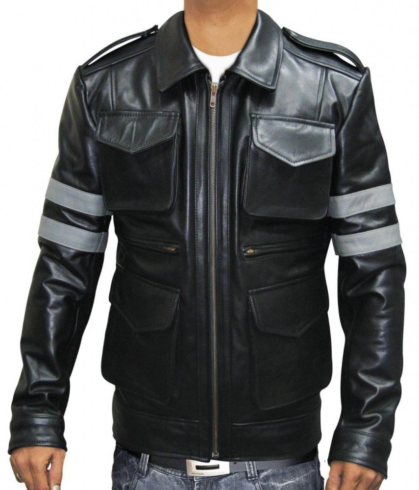 BlingSoul Mens Michigan Zip Pocket Distressed Leather Jacket - Youth Racing Casual Wear (Resident Evil 6 Jacket, XL)
