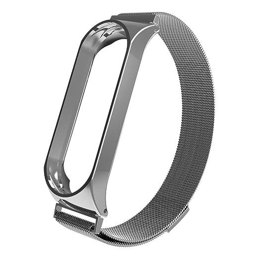 Correa de reloj inteligente Para Xiaomi MI Band 3, Sencillo Vida, Nueva pulsera ligera de acero inoxidable de moda Magnética: Amazon.es: Relojes
