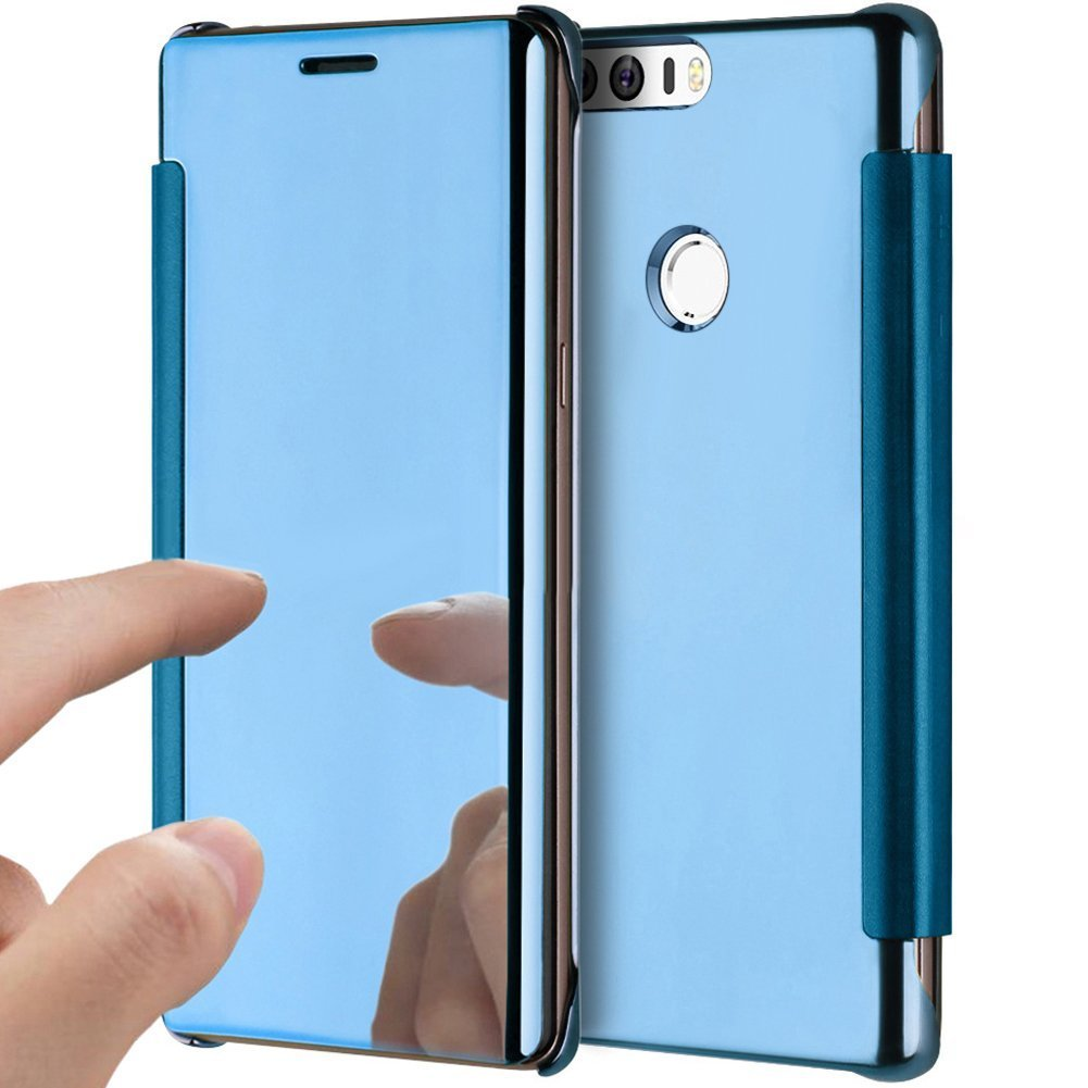 PHEZEN Huawei Honor 8 Case, Luxury Mirror Makeup Case Plating PU Leather Flip Protective Cover [Kickstand Feature] Magnetic Closure Full Cover Case for Huawei Honor 8 (Blue)