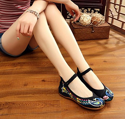 Chnuo Zapatos bordados lenguado del tendón estilo étnico zapatos de tela femenina moda cómodo casual dentro del aumento black