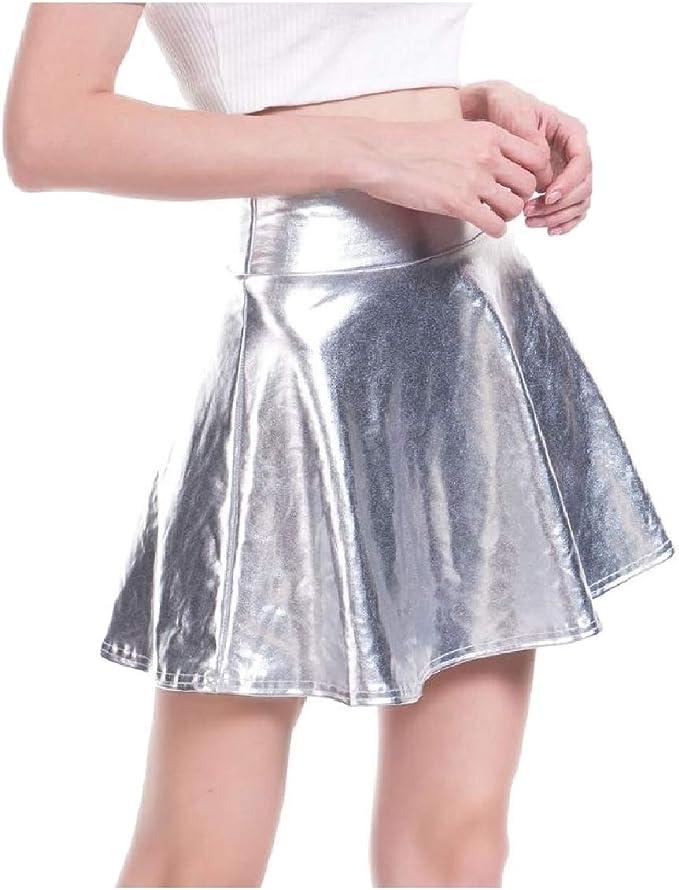 CuteRose - Falda - para Mujer Plateado Plata 48: Amazon.es: Ropa y ...