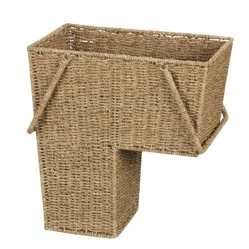 (Household Essentials ML-5647 Seagrass Wicker Stair Step Basket with Handle | Natural Brown)