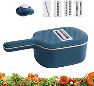 Vegetable Chopper Slicer with Container, 4 Interchangeable Blades Food Choppers Cutter and Dicers for Garlic, Cabbage, Carrot, Potato, Tomato, Fruit
