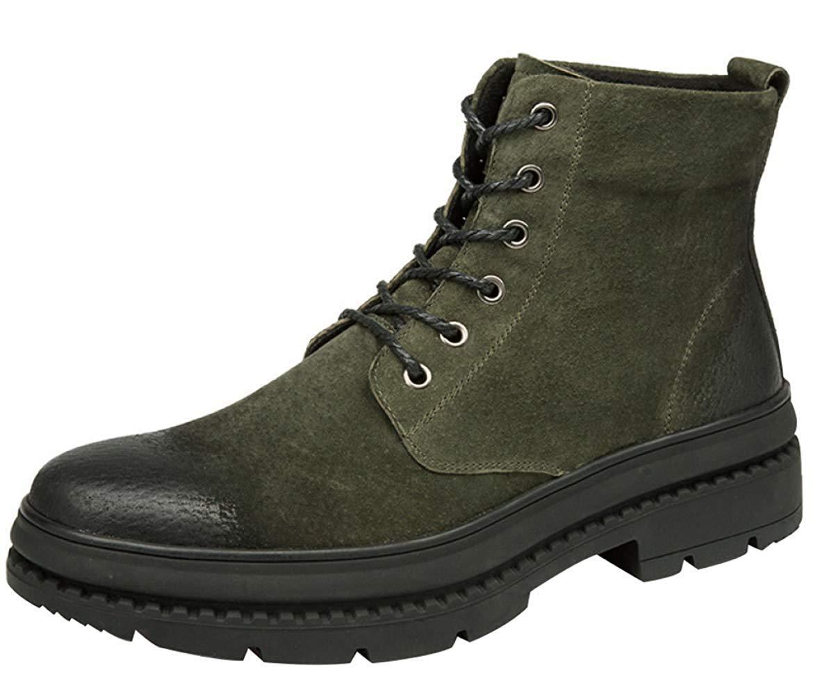Oudan Herren Vintage Hohe Stiefel Fashion Martin Stiefel Desert Stiefel (Farbe   Grün, Größe   40EU)