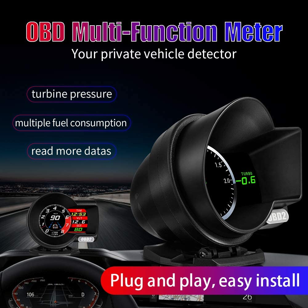 4 Derni/ère Version Affichage T/ête Haute HUD OBD2 GPS Dual Syst/ème Compteur de Vitesse Kilom/étrage Flux de Donn/ées Alarme Survitesse Temp/érature de LEau//Pression Turbine Compatible Tous les V/éhicules