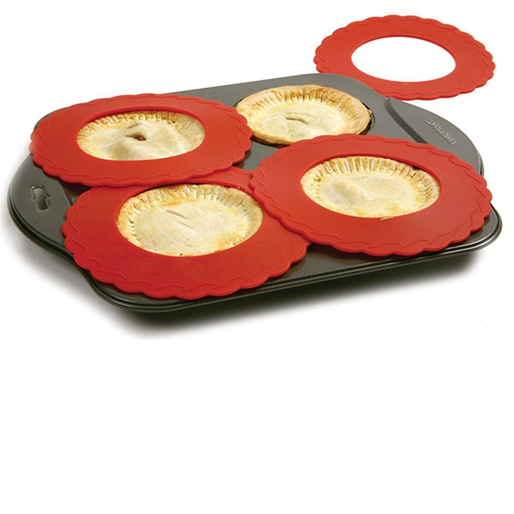 Set of 4 Mini Silicone Crust Shields - Protect Edge of 5'' & 6'' Pies From Burning, Mini Pie Pan Shields. by Bandwagon
