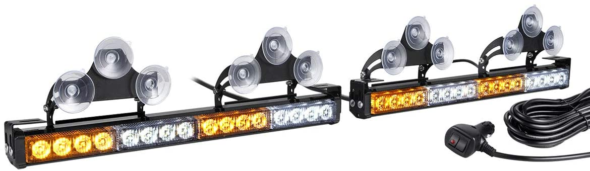 2 in 1 LED Amber White Traffic Advisor Strobe Light Bar for Trucks Police Cars Construction Vehicles Interior Safety Warning, WOWTOU Directional Flashing Emergency Caution Lighting