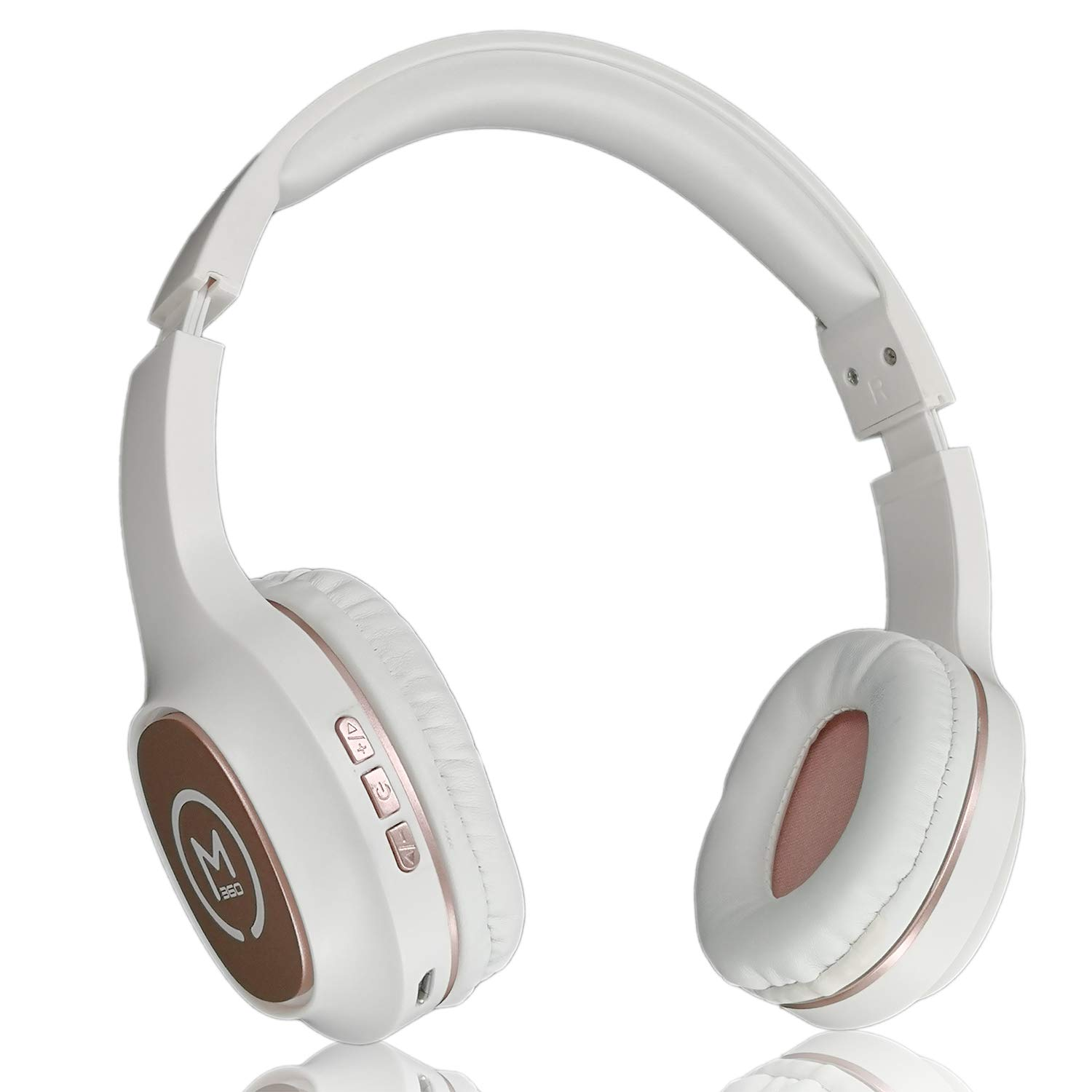 Morpheus 360 Bluetooth Headphones, Wireless Headphones Over Ear, Wireless Headphones with Microphone, Soft Comfortable Ear cups, Wireless & Wired mode White with Rose Gold Accents