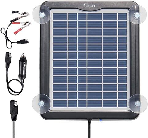 Amazon.com: Cargador de batería solar para coche, 5 W, 12 V ...