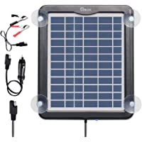 ZEALLIFE Solar Battery Charger, 5W 12V Solar Trickle Charger for Car Battery, Portable and Waterproof, High Conversion Single Crystal Silicon Solar Panel for Motorcycle