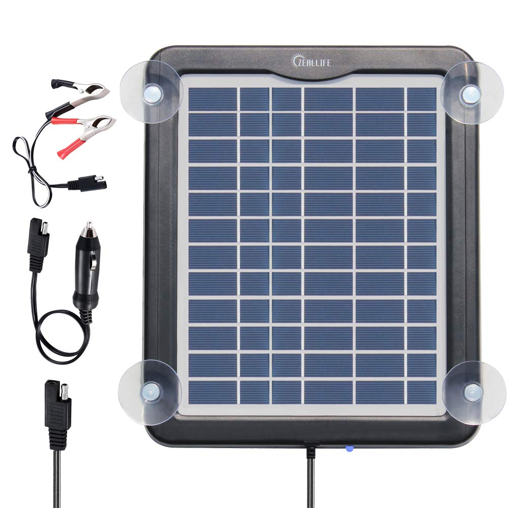 Solar Battery Charger Car, 5W 12V Solar Trickle Charger for Car Battery, Portable and Waterproof Solar Battery Maintainer, High conversion single crystal silicon Solar Panel car battery charger for RV