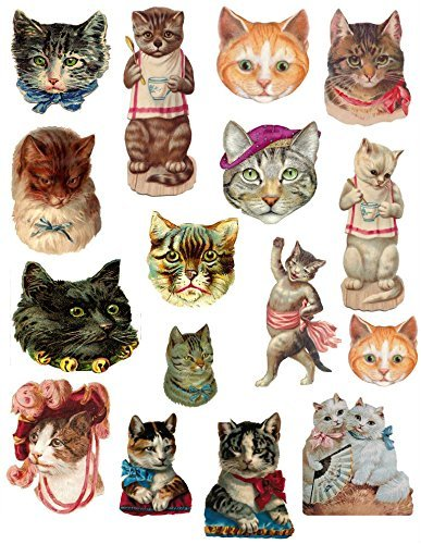 Victorian Cats Collage Sheet #101