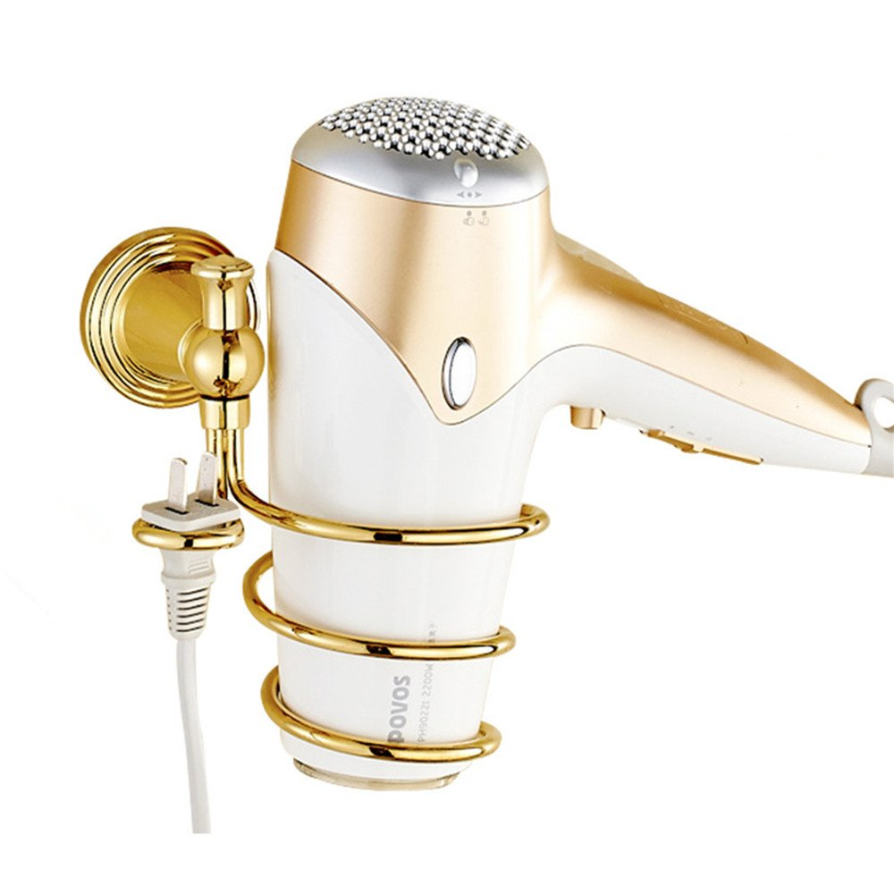 WINCASE Hairdryer Holder Organiser, Wall Bathroom Accessories made of Brass European Exlusive Luxury Style Polished Gold finished