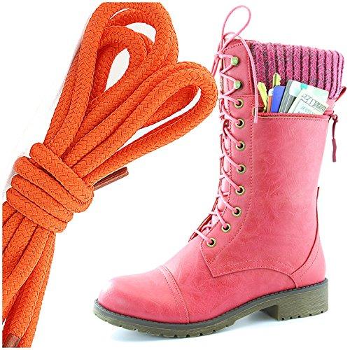Dailyshoes Womens Style De Combat Lacets Cheville Bottine Bout Rond Militaire Knit Carte De Crédit Couteau Argent Poche Portefeuille Bottes, Orange Hot Pink Pu