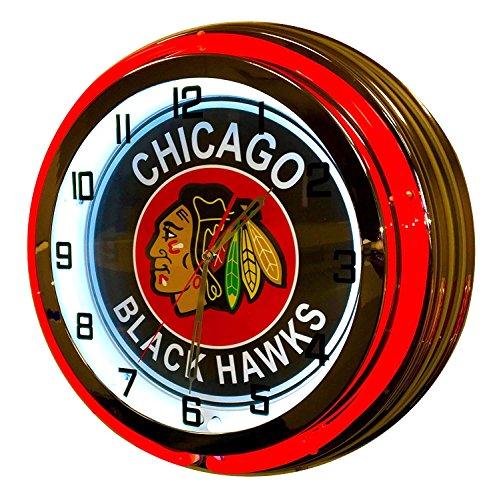Chicago Black Hawks Sign - 19 inch neon Clock
