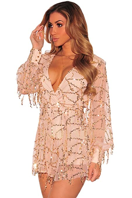 980d3b888a New Woman`s Nude   Gold Sequin Romper Jumpsuit Playsuit Catsuit Club Wear  Size UK 12-14 EU 40-42  Amazon.co.uk  DIY   Tools
