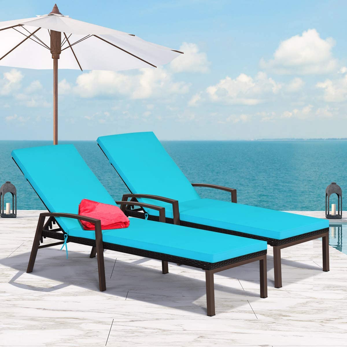 Tangkula 2 PCS Patio Rattan Chaise Lounge Chair, Outdoor Reclining Chaise with Cushion and Armrest, Wicker Sun Lounger with Adjustable Backrest for Garden, Balcony, Poolside Turquoise