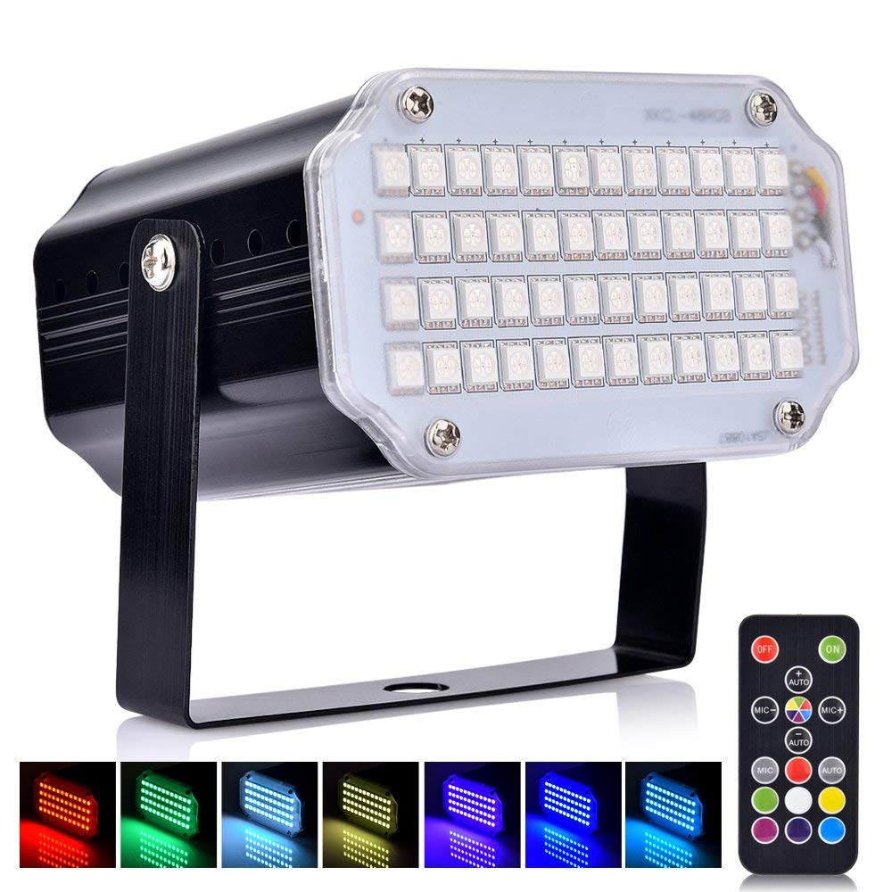 BASEIN Stage Lights with Remote Control Adjustable Speed 7 Modes Party Lights with Super Bright 48 LED Strobe Light Lamps for Halloween Christmas DJ Home Party Festival Dancing Bar Club Wedding by BASEIN