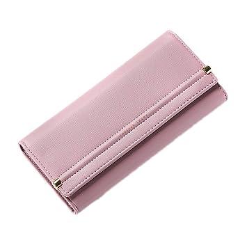 KELIEF Diseñador Mujer Monedero Muchos Departamentos Titular de la Tarjeta Larga Carteras Femeninas Estilo Conciso Señoras Clutch Monedero Deep Pink: ...