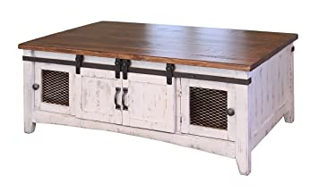 Anton Farmhouse Cocktail Solid Wood Distressed White Sliding Barn Door Coffee Table With Storage