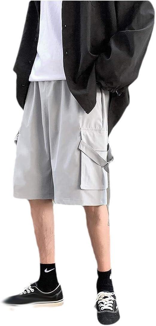 Kankanluck 男性マルチポケットリラックスフィットストレートプラスサイズショートリップストップトラウザー