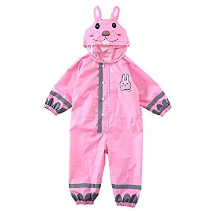 Baoffs Chaqueta de Lluvia para niños Conejo Rosa Thin con Capucha Impermeable Niño bebé One-