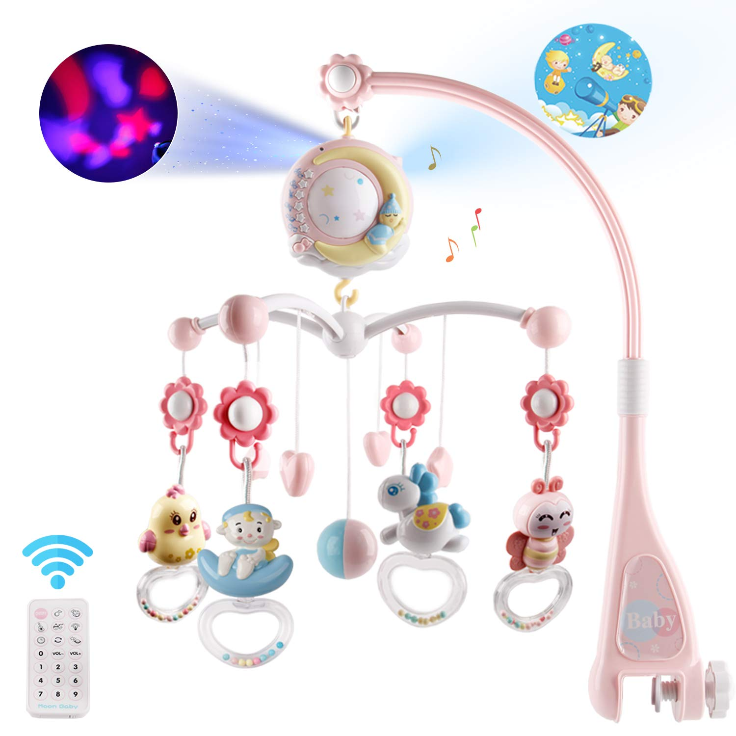 Baby Musical Crib Mobile with Timing Function Projector and Lights,Hanging Rotating Rattles and Remote Control Music Box with 150 Melodies,Toy for Newborn 0-24 Months by Mini Tudou (Image #1)